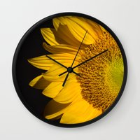 sunflower Wall Clocks featuring sunflower by mark ashkenazi