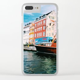 Digital Illustration of Copenhagen's Nyhavn Seen from the Boat, on a Bright and Sunny Day Clear iPhone Case