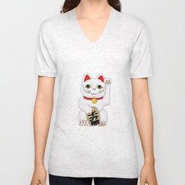 Maneki-Neko Lucky Charm Japanese Cat Unisex V-Neck