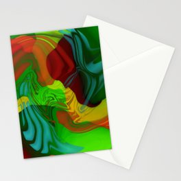 Green and Red Abstract Stationery Cards