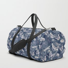 Dragonflies, Butterflies and Moths With Plants on Navy Duffle Bag