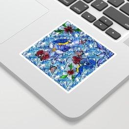 Aloha - Tropical blue Palm Leaf Flower and Bird Pattern Sticker