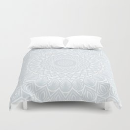 Minimal Minimalistic Light Cool Gray Mandala Duvet Cover