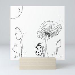Ladybug Mushroom Drawing Mini Art Print