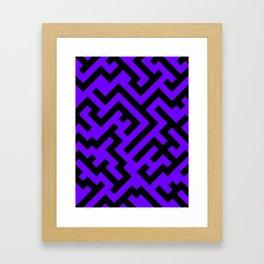 Black and Indigo Violet Diagonal Labyrinth Framed Art Print