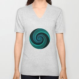 Magical Teal Green Spiral Design Unisex V-Neck