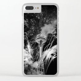 Black and White Space Needle Seattle at night Clear iPhone Case