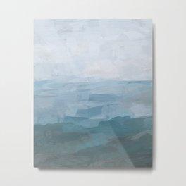 Sky Denim Teal Blue Abstract Nature Ocean Painting Art Print Wall Decor  Metal Print