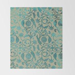 Blue Lotus Pattern Throw Blanket