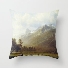 The Sierras Near Lake Tahoe 1865 By Albert Bierstadt | Reproduction Painting Throw Pillow