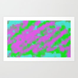 pink green and blue square painting abstract background Art Print