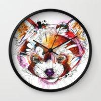 red panda Wall Clocks featuring Red Panda  by Abby Diamond