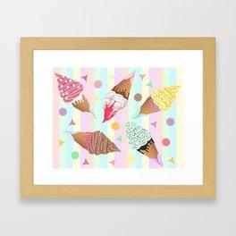 KUTE KAWAII ICE CREAM Framed Art Print
