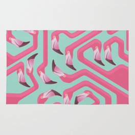 Flamingo Maze on beach glass background. Rug