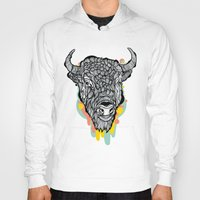 bison Hoodies featuring Bison by casiegraphics
