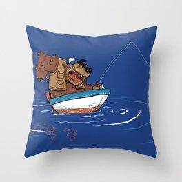 Bear Fishing Throw Pillow