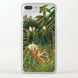 "Henri Rousseau ""Jaguar Attacking a Horse"", 1910 Clear iPhone Case"