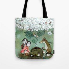 Herbal Tea-White Hydrangea Tote Bag