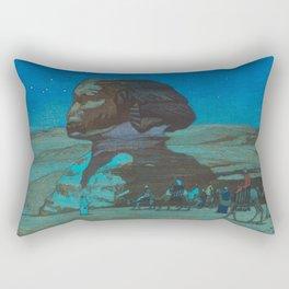 The Sphinx at Night Hiroshi Yoshida Vintage Japanese Woodblock Print Rectangular Pillow