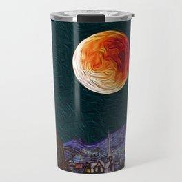 Blood Moon over Starry Night Van Gogh Travel Mug