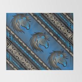 Horse Nation (Blue) Throw Blanket