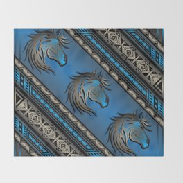 Horse Nation (Blue) Throw Blanket