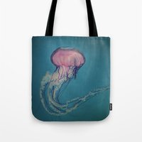 jellyfish Tote Bags featuring Jellyfish by Pure Nature Photos