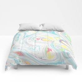Modern abstract blue yellow white watercolor marble Comforters