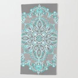Teal and Aqua Lace Mandala on Grey Beach Towel