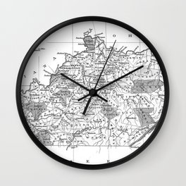 Vintage Map of Kentucky (1827) BW Wall Clock