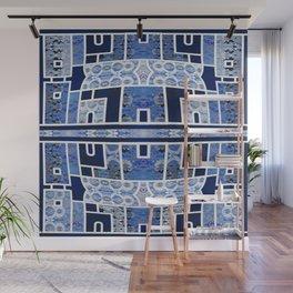 Moroccan Boho Blue Tile Boho Geometric Lace Detail Wall Mural