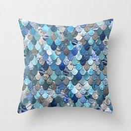 Mermaid Art, Ocean Blue Throw Pillow