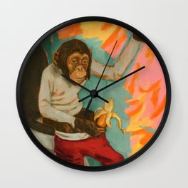 """Primitive Neurological Circuitry (Chimp on Toilet)"" Wall Clock"
