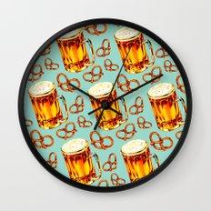 Beer & Pretzel Pattern Wall Clock