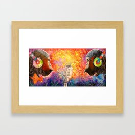 Duo happy monkey Framed Art Print