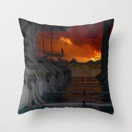 Drevos - Sci Fi - Sunset - Science Fiction - ZG 3D Throw Pillow