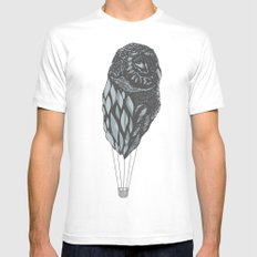 Hot Owl Balloon MEDIUM White Mens Fitted Tee