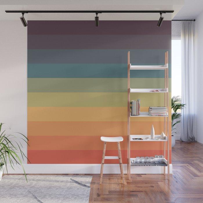Wall Mural | Colorful Retro Striped Rainbow by Alphaomega - 8' x 8' - Society6