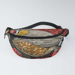 Zebra finch and red rose bush Fanny Pack