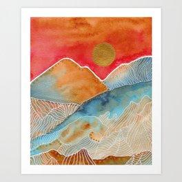 Watercolor landscape & line art 1 Art Print