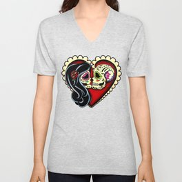 Ashes - Day of the Dead Couple - Kissing Sugar Skull Lovers Unisex V-Neck