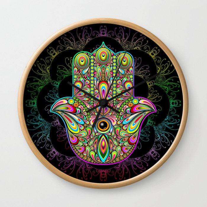 Hamsa Hand Amulet Psychedelic Wall Clock