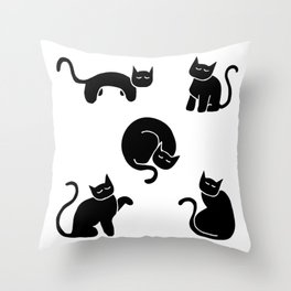 Cute Cat Sketches - Stylized Kitten Silhouettes - Black Throw Pillow
