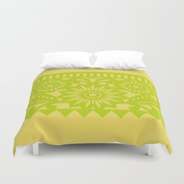 Papel Picado - Green + Yellow Duvet Cover