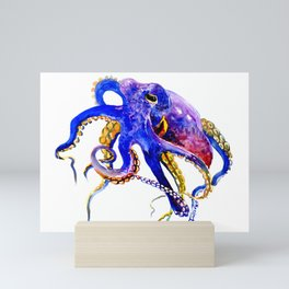 Octopus, Blue, Gold,Purple Mini Art Print