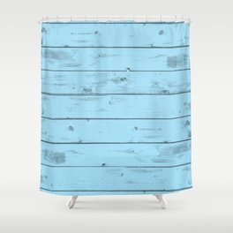 Blue Wood Texture Shower Curtain