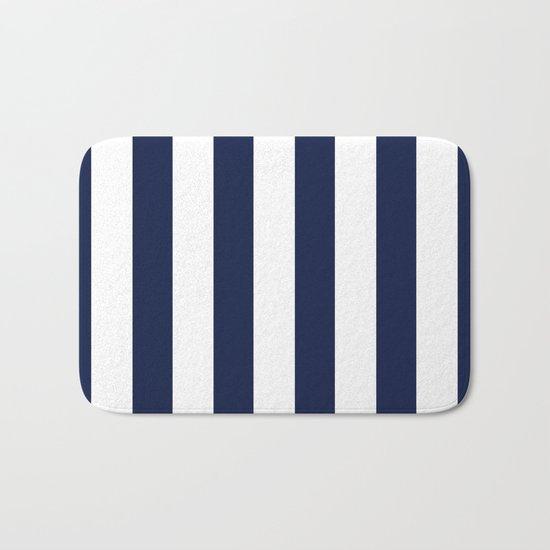 Simply Vertical Stripes in Nautical Navy Blue Bath Mat