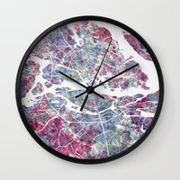 stockholm Wall Clocks featuring STOCKHOLM #2 by MapMapMaps.Watercolors