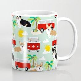 corgi welsh corgis hippie bus tropical beach surf life road trip corgi lover Coffee Mug