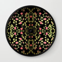"""""""Spring pink flowers and leaves - Black"""" Wall Clock"""